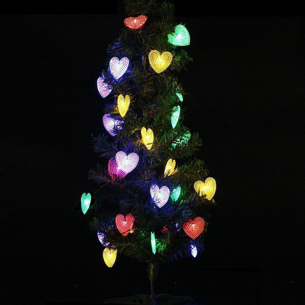 Multicolor Solar Heart Lights DINOWIN Outdoor Heart Lights 30LED 19.7ft with 8 Mode Working Lighting Waterproof for Christmas Tree Party Wedding Garden Decorate