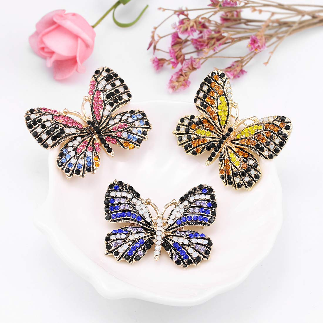 WeimanJewelry Lot6pcs Multicolor Rhinestone Crystal Butterfly Brooch Pin Set for Women by WeimanJewelry (Image #5)