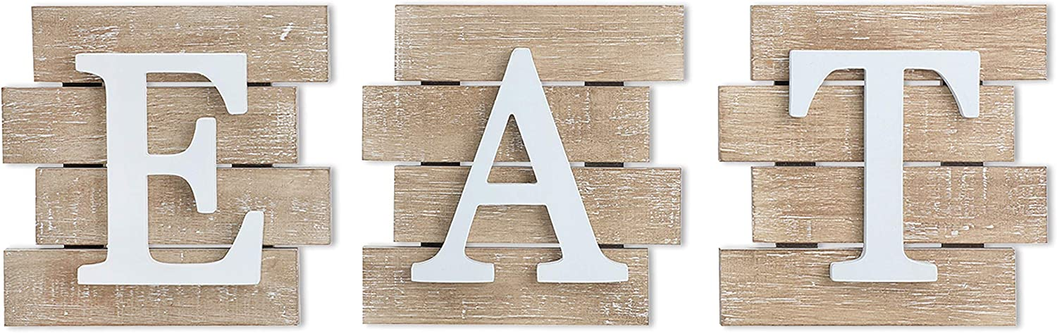 Karisky Eat Letter Signs 3-Pack 8 x 8 inches Rustic Wood Plaques Hanging Wall Art for Kitchen, Dining Room, Home Farmhouse Decor Brown