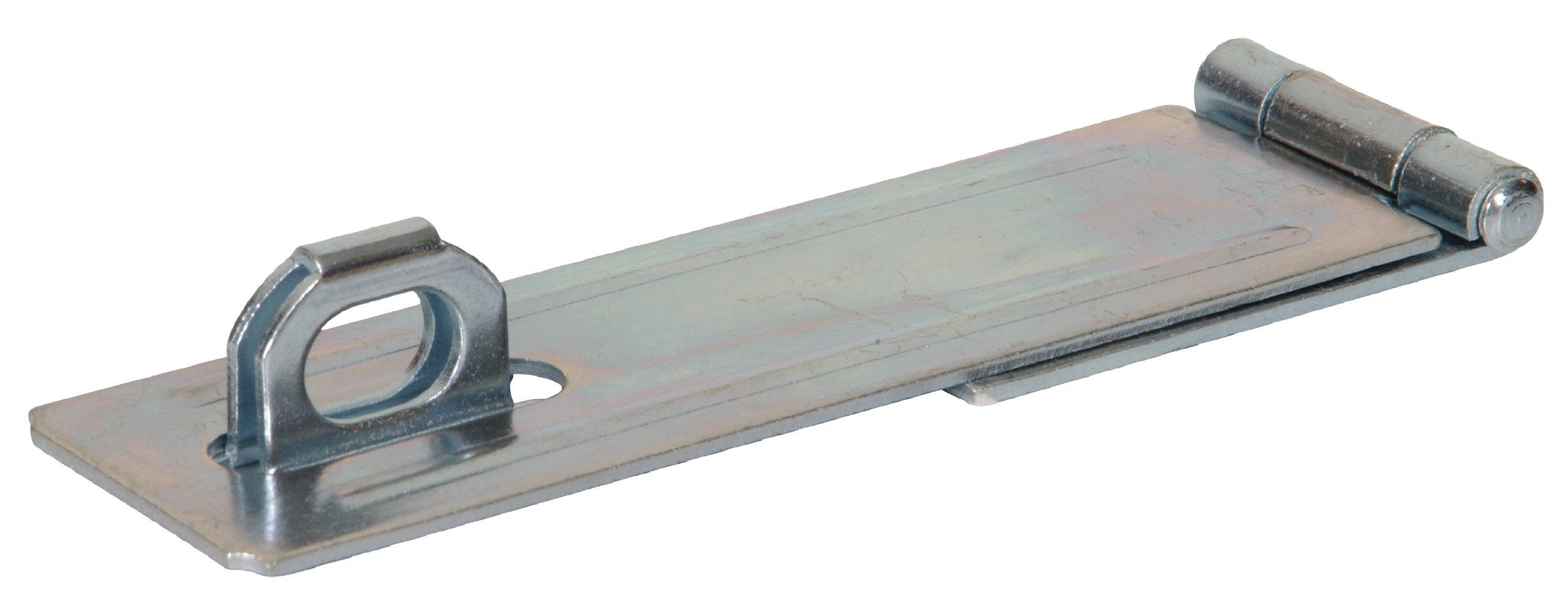 Hillman Hardware Essentials Fixed Staple Safety Hasps 7'', Zinc Finish, 10-Pack