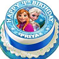 Cannellio Cakes Frozen Anna and Elsa Personalised Precut 7.5 Inch Cake Topper Edible Decoration Icing Sheet