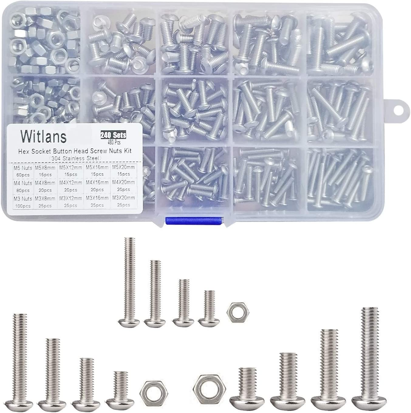 Witlans 480Pcs Hex Socket Button Head Screw Nuts Kit,Stainless Steel Hex Socket Drive Machine Screws Bolts and Nuts Assortment Set with Storage Box M3 M4 M5