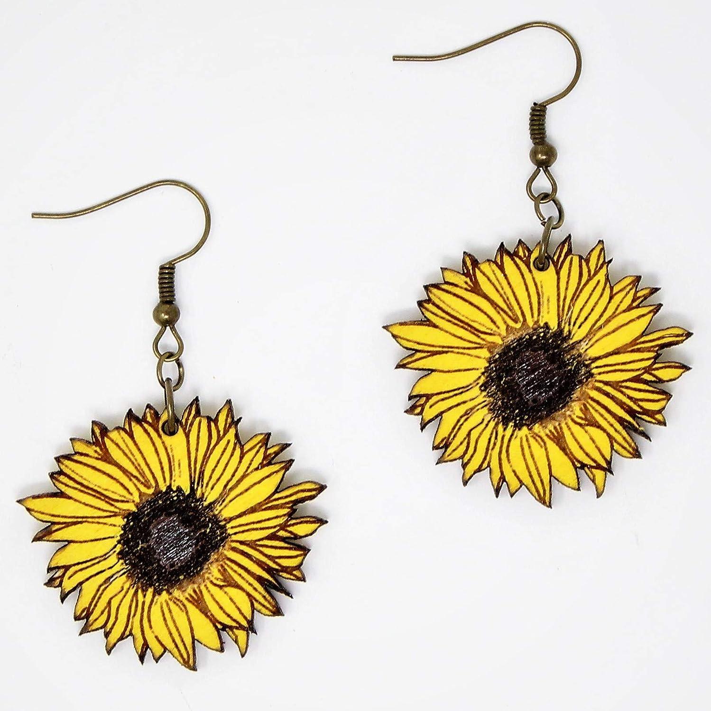 Sunflower Dangle Earrings | Handmade Eco-Friendly Fashion by Telestic Design