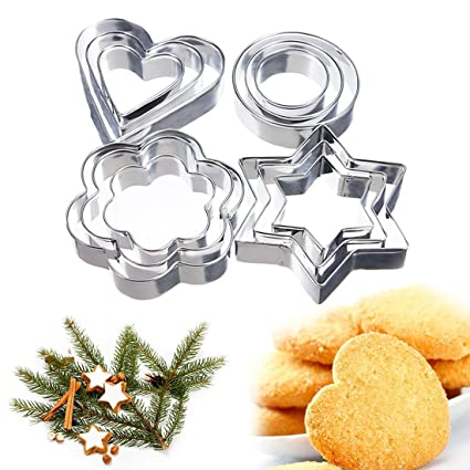 Cake Molds - 12pcs Set Metal Star Heart Shape Cookie Cutters Cake Decorating Molds Baking Stamp
