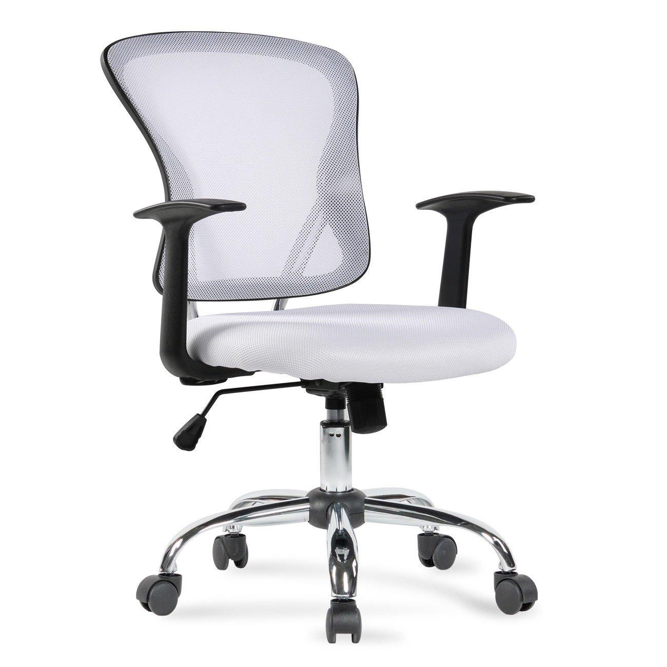 PNPGlobal Ergonomic Office Computer Chair Desk Mid-Back Mesh Task Executive Swivel, White