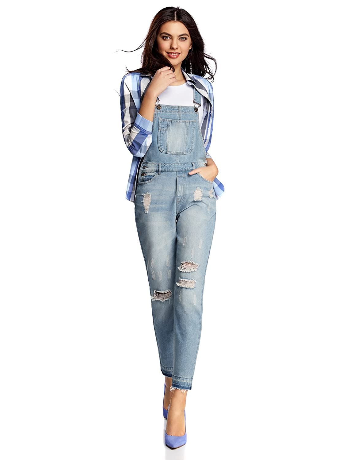 oodji Ultra Women's Denim Dungaree with Decorative Distressed Details RIFICZECH s.r.o. 13108002