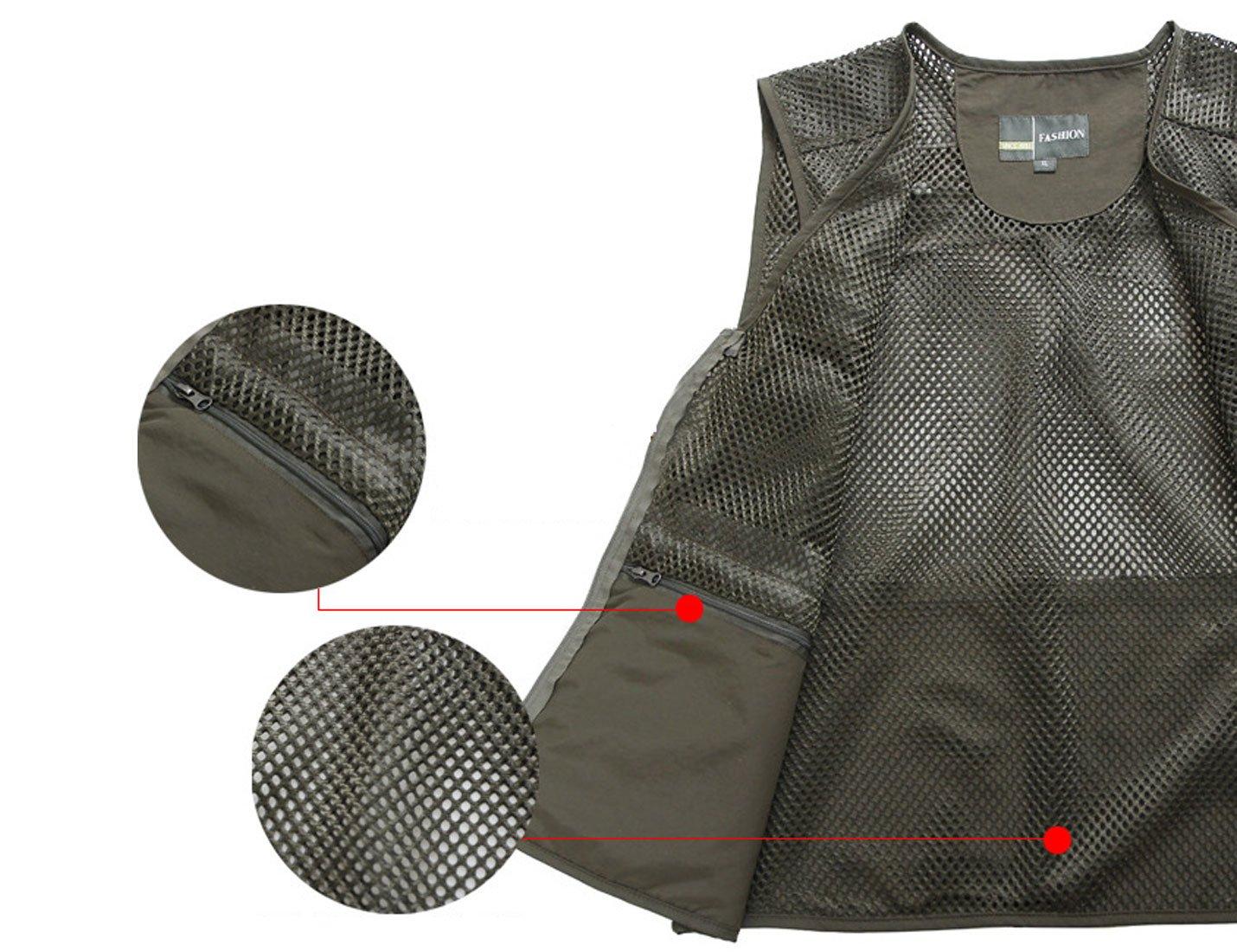 Zhusheng Men's Mesh 16 Pockets Photography Fishing Travel Outdoor Quick Dry Vest Breathable Waistcoat Jackets (XX-Large, Light Khaki) by Zhusheng (Image #4)
