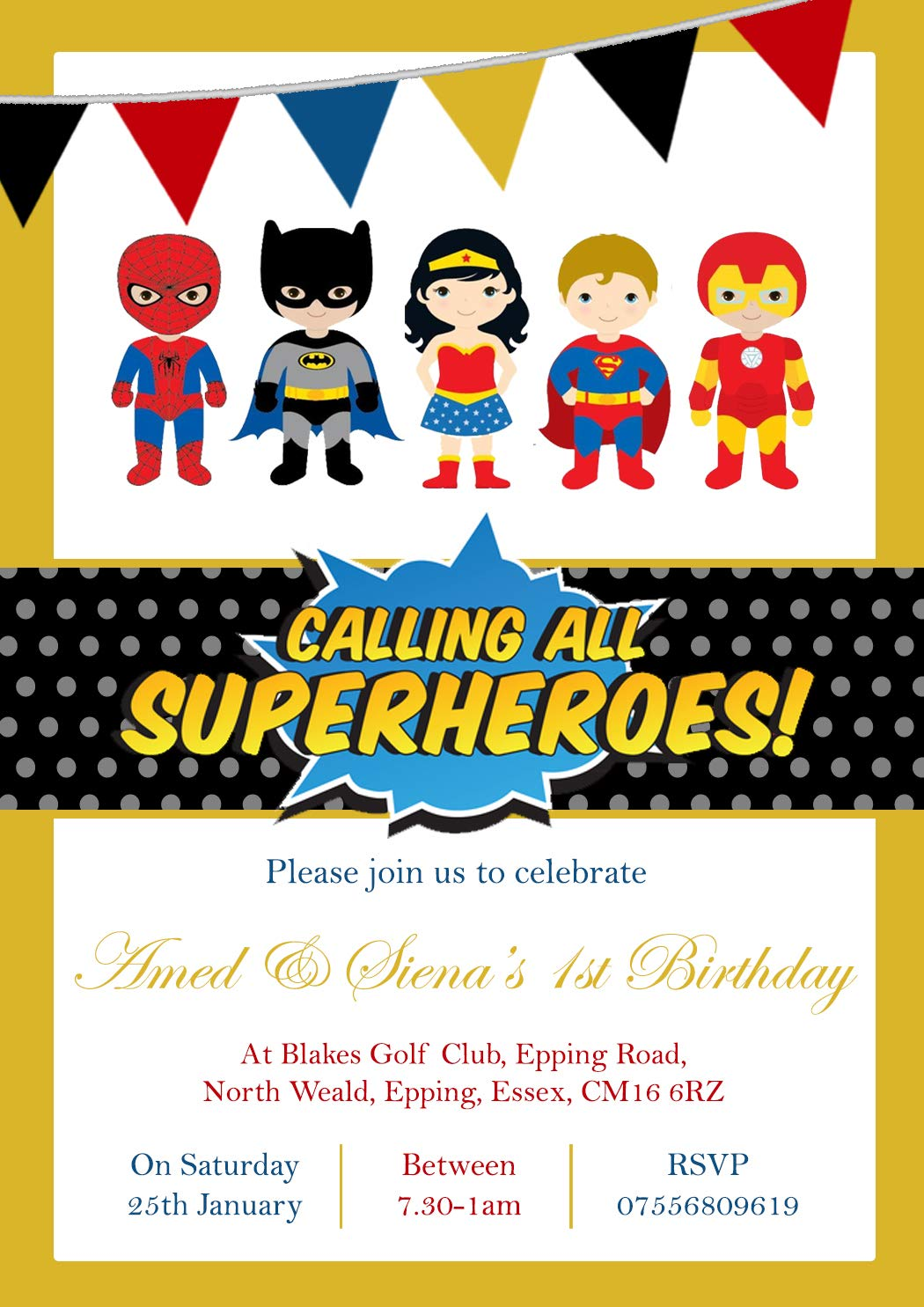 POW Personalised Calling All Superheros Childrens Birthday Invitations Printed Invites Boy Girl Joint Party Twins Unisex Photo Card Superhero