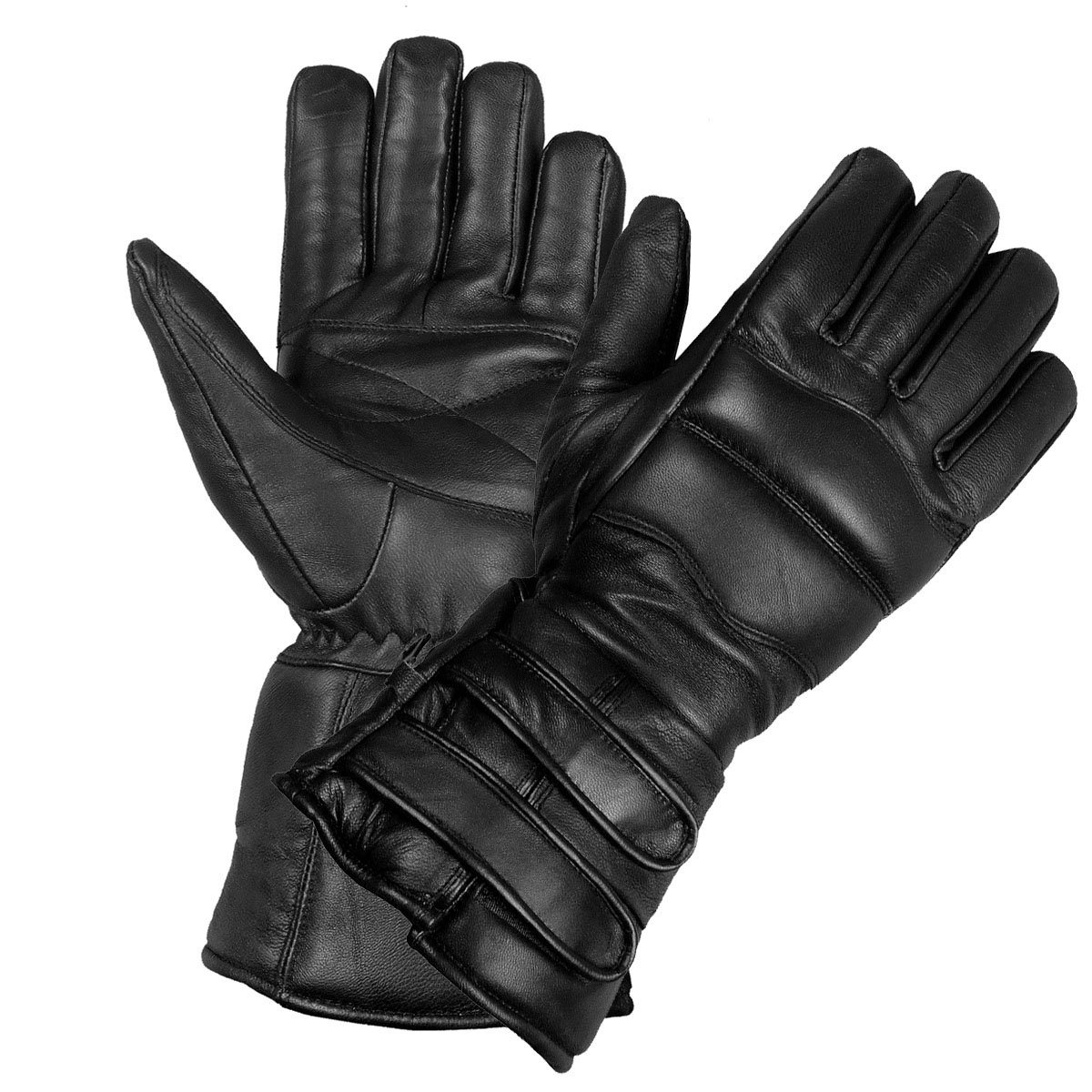 New Mens Thinsulate Sheep Leather Winter Motorcycle Biker Riding Gloves Black M