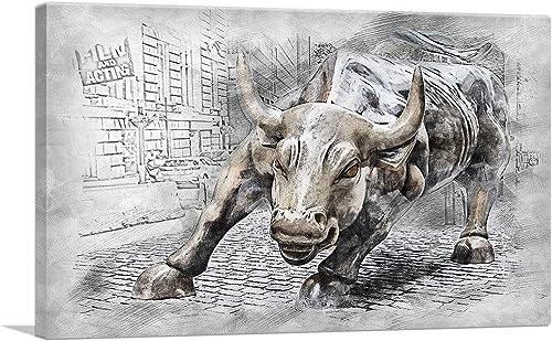 ARTCANVAS Charging Bull Statue Wall Street New York Stylized Canvas Art Print