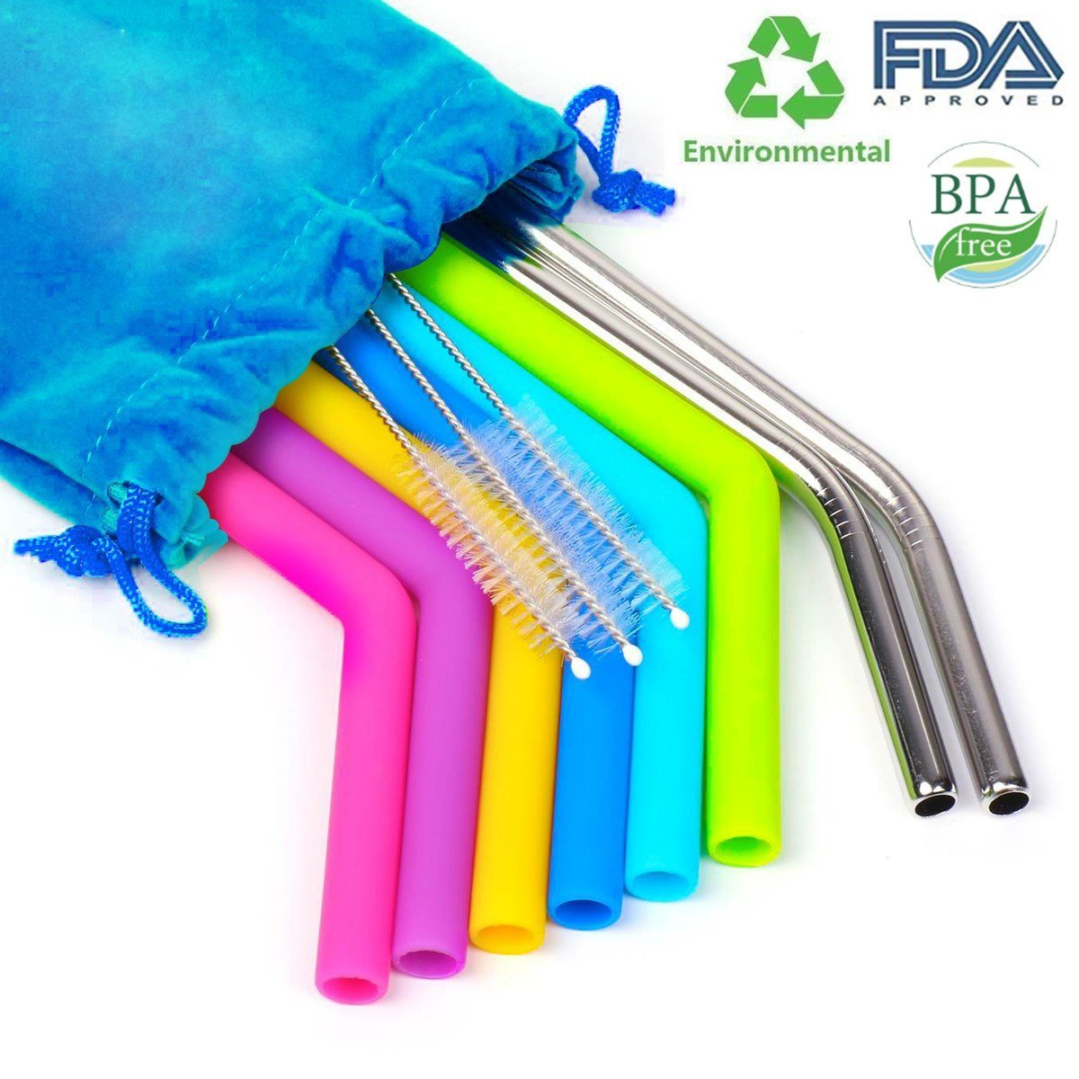 Reusable Silicone Straws, Extra Long Stainless Steel Straw Flexible Drinking Straws with Cleaning Brushes for 30 oz Tumbler RTIC/Yeti with Pouch, BPA Free, FDA approved by Xmifer