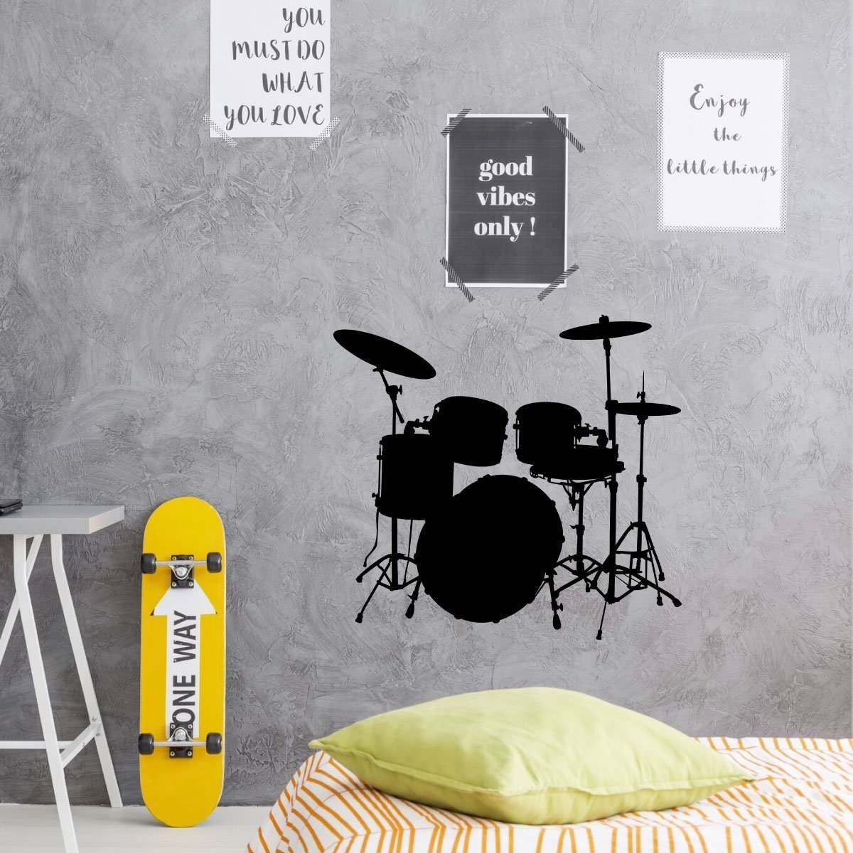 Music Wall Decor - Drum Decal - Vinyl Decorations for Home, Bedroom, Playroom Or Studio - Musicians Gift