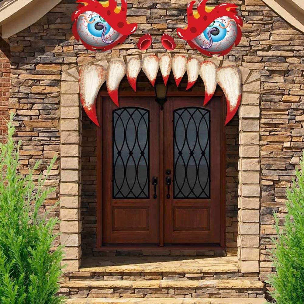 WY Shop Halloween Monster Face Waterproof Stickers with Eyes Fangs Nostril Garage Door Archway Car Decor for Halloween Party Decorations Supplies