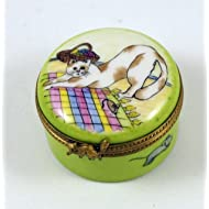 Authentic French Porcelain Hand Painted Limoges box Cute Kitty Cat Kitten Playing and Mice