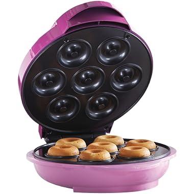 Brentwood TS-250 Non-Stick Mini Donut Maker Machine, Pink