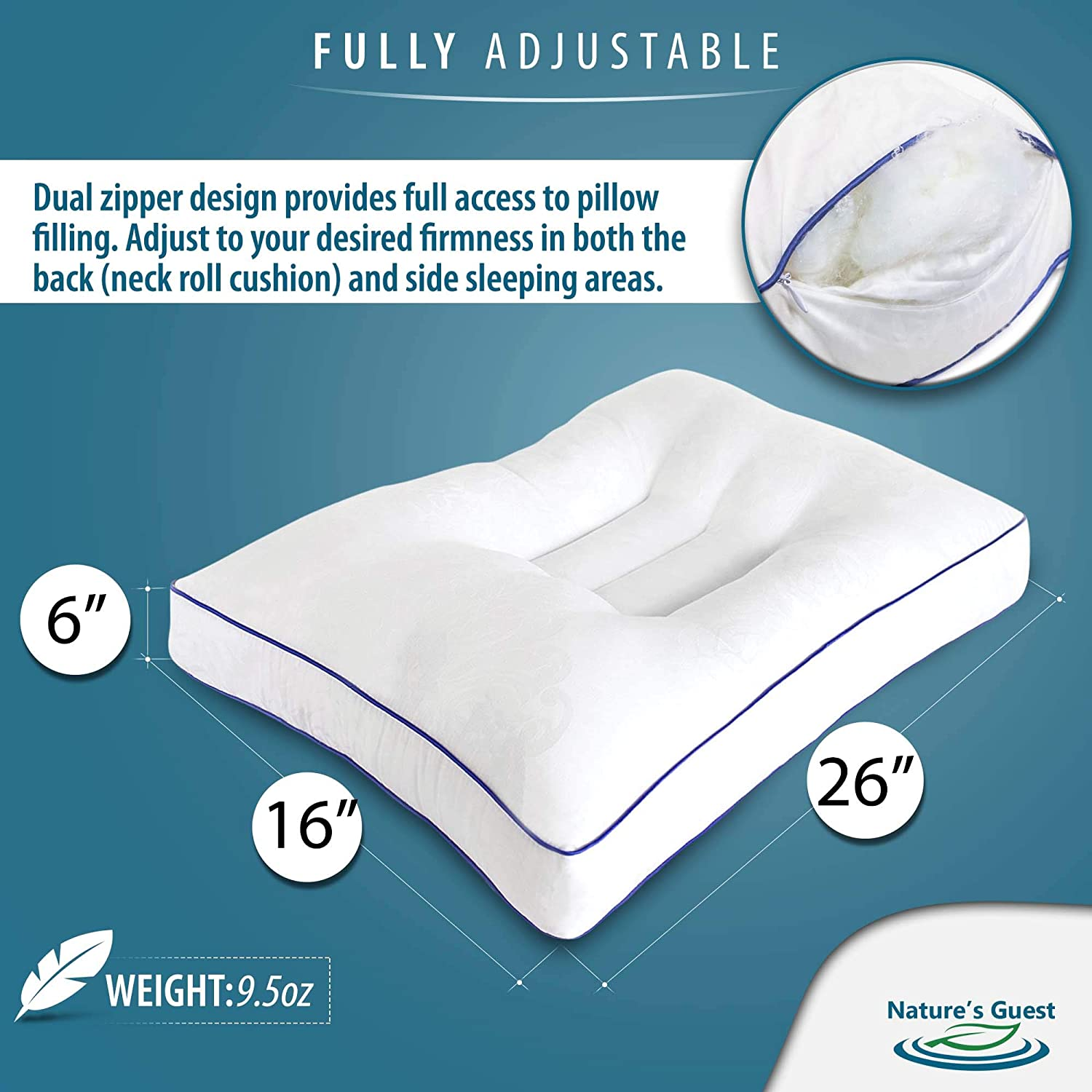 Natures Guest Cervical Pillow No Memory Foam Odor Queen Size Ideal Neck Pillow Back Pillow Side Sleeper Pillow Contour Orthopedic Support and Cervical Traction for Neck Pain Back Pain Relief