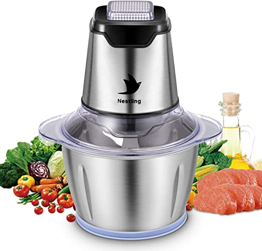 Triturador de alimentos eléctrico, 500 W, picadora de verduras, robot culinario, triturador de 4 cuchillas afiladas para carne, frutas y nueces, con 1,2 l, cuenco de acero inoxidable de calidad alimentaria: Amazon.es: Hogar