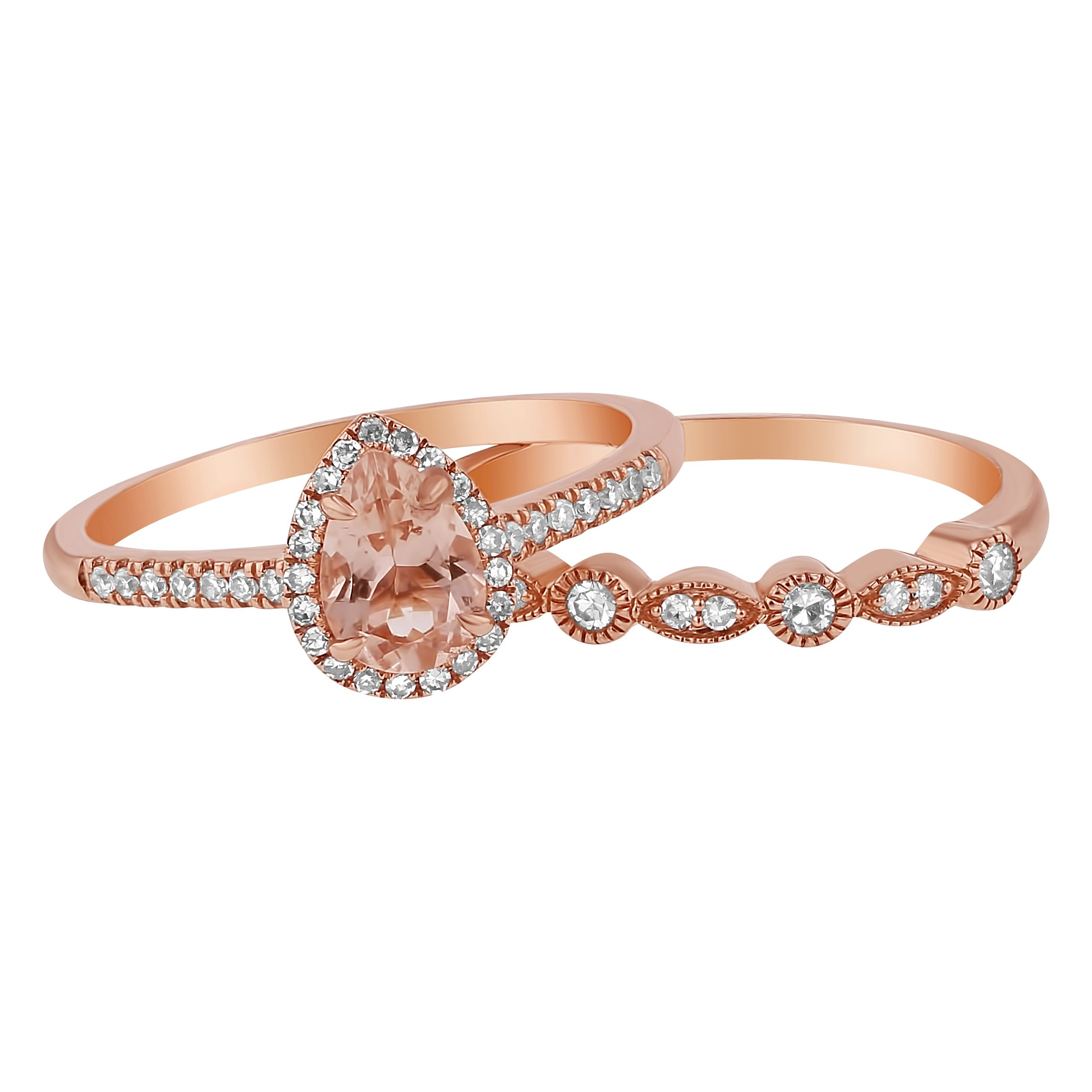 14k Rose Gold Pear Morganite and Diamond Halo Vintage Wedding Band Set (1/4 cttw, H-I Color, I1 Clarity) Size 5
