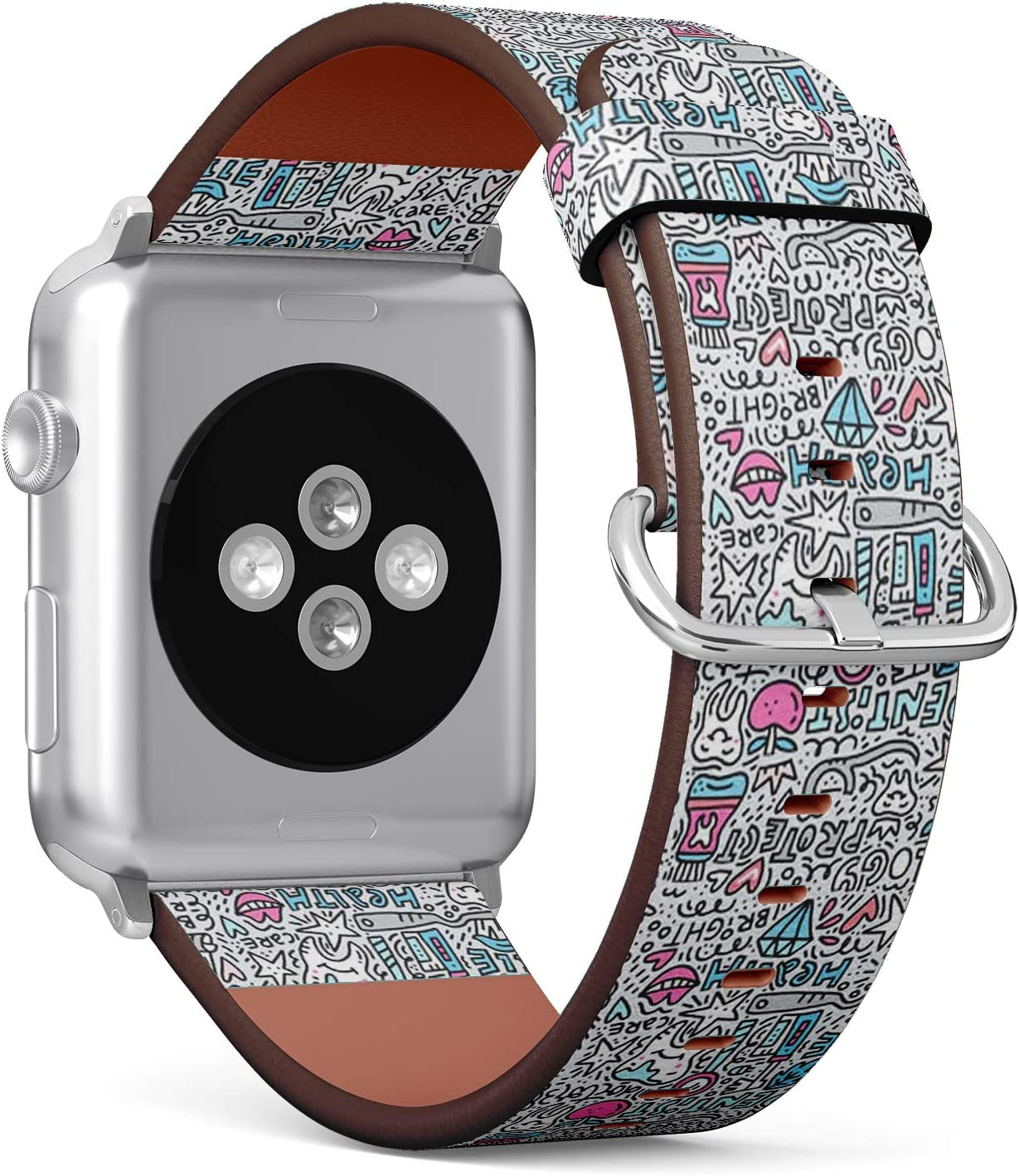 Compatible with Small Apple Watch 38mm & 40mm (Series 5, 4, 3, 2, 1) Leather Watch Wrist Band Strap Bracelet with Stainless Steel Clasp and Adapters (Dental Care)