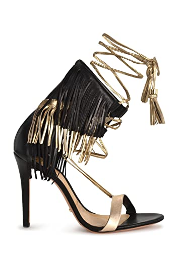 3b008c42b216 SCHUTZ Maira Black Leather Gold Tassel   Fringe High Heel Tie Up Sandals  Pumps (5.5