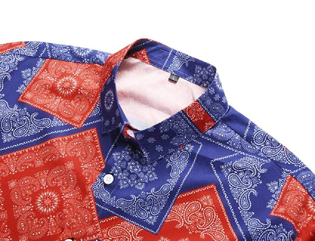 YYG Mens Short Sleeve Plus Size Floral Summer Lapel All Button Down Dress Shirts