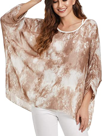 Women S Loose Batwing Sleeve Blouse Chiffon Top Floral Printed Poncho Tunic Caftan Cover Up At Amazon Women S Clothing Store