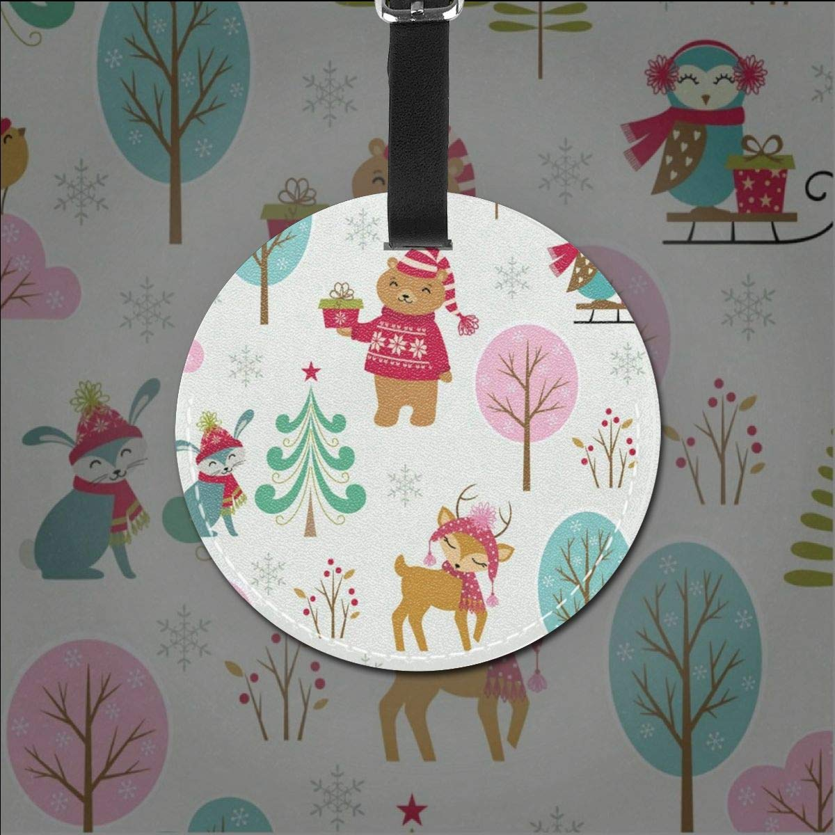 Round Luggage Tags Christmas Trees Pattern Travel Accessories Suitcase Name Tags