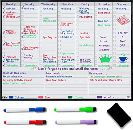 A3 Weekly Schedule Daily Chores Jobs Office Planner Magnet Fridge Whiteboard 2p