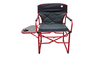 Outdoor Spectator Heavy Duty Compact Folding Camping Director Chair with Side Table and Carry Bag