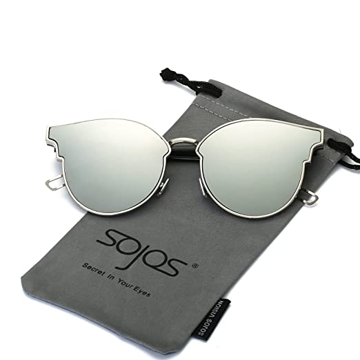 2996f11198aa SOJOS Fashion Cateye Sunglasses for Women Oversized Flat Mirrored Lens  SJ1055 with Thick Silver Frame