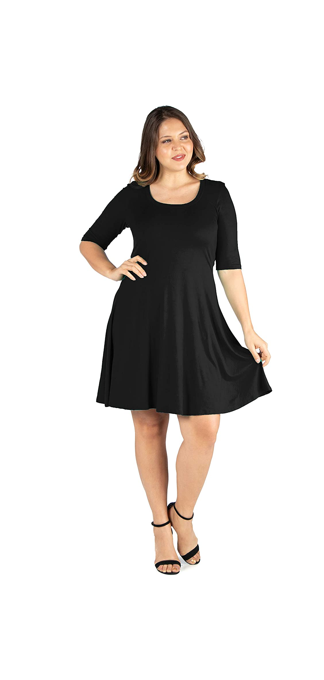 Seven Comfort Appare Elbow Sleeve Plus Size Knee Length Dress