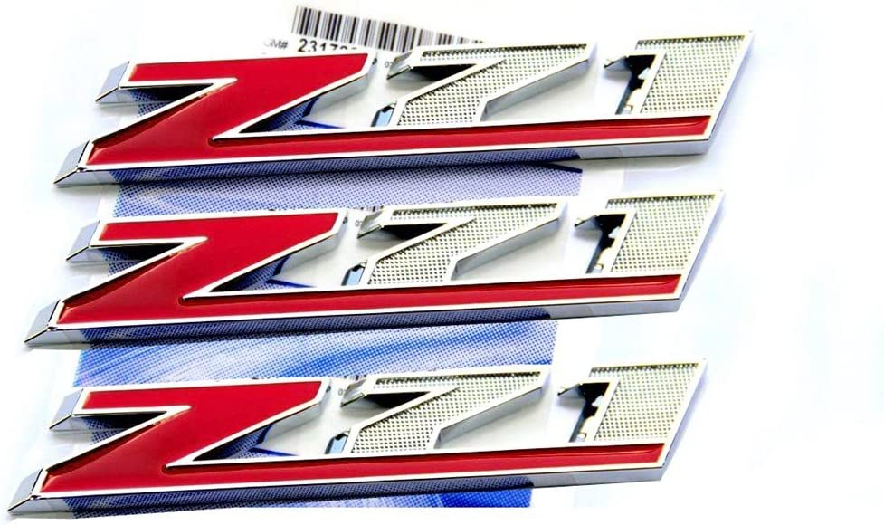 Yoaoo/®2x OEM Chrome Red Z71 Emblems for GMC Chevy Silverado Sierra Tahoe Suburban Red