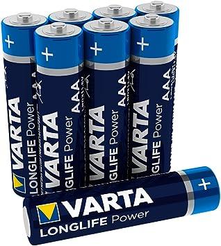 Varta 4903 Pack de 8 Pilas alcalinas AAA, Azul, Pack 8, Set de 8 ...