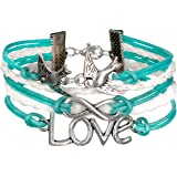 Bracelet Infini Colombe et Love / Infinity / One Direction - Bleu / Argenté