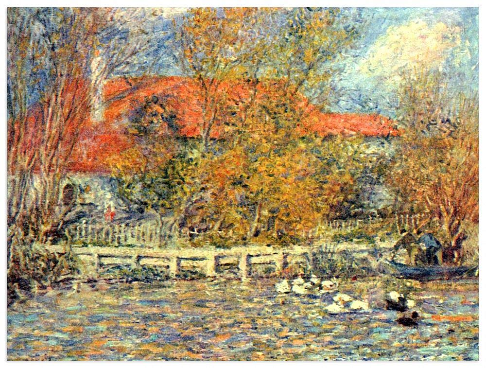 ArtPlaza TW92726 Renoir Pierre-Auguste-Duck Pond Decorative Panel, 35.5x27.5 Inch, Multicolored