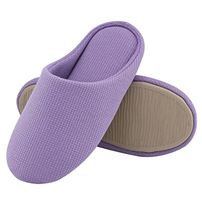 ULTRAIDEAS Comfort Knitted Cotton Slippers For Men and Women Washable Flat  Closed Toe Ultra Lightweight Indoor