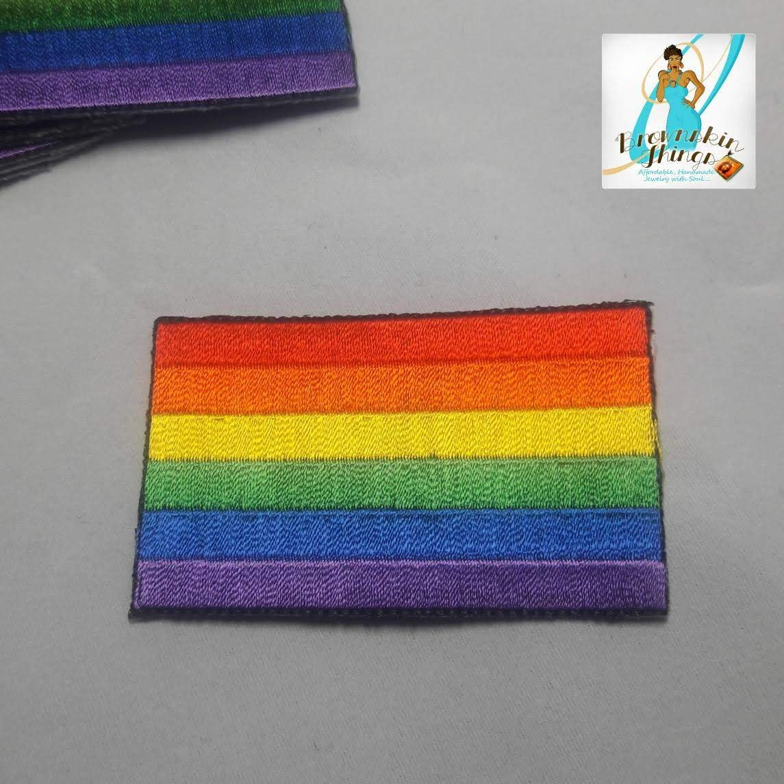 Rainbow Patch 2.5x1.5 inches - Iron On - Embroidery