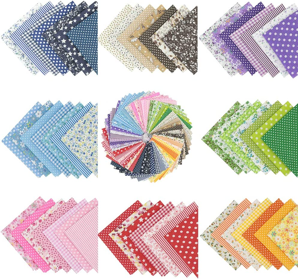 "B07KDCKTCN 56pcs 9.8"" x 9.8"" Floral Printed top Cotton Fabric Bundle Squares Quilting Sewing Patchwork Cloths DIY Scrapbooking Crafts 71DhW3GHPEL"