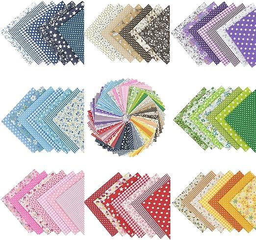 56 piezas de 25 cm x 25 cm de tela de algodón con estampado floral, para costura, manualidades, álbumes de recortes y manualidades: Amazon.es: Amazon.es