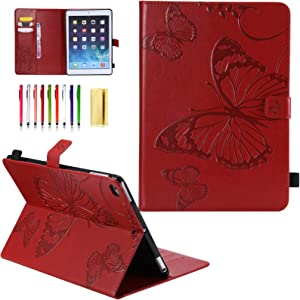 iPad 9.7 inch 2018 2017 Case 6th/5th Gen, for Apple iPad Air 2/Air 1 Cover, UUcovers Smart PU Leather Embossed Butterfly Folio Stand Magnet Wallet with Card Pocket Pencil Holder [Auto Wake/Sleep], Red