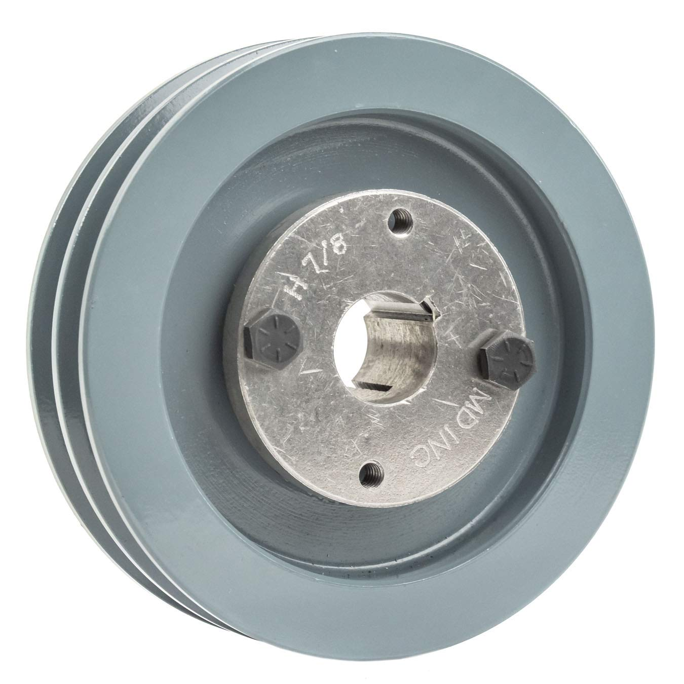 """Cast Iron 3.5/"""" 2 Groove Dual Belt A Section 4L Pulley With 7//8/"""" Sheave Bushing"""