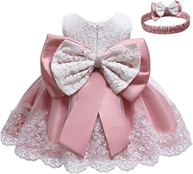 LZH Baby Girls Formal Dress Bowknot Baptism Embroidery Tutu Dress with Months