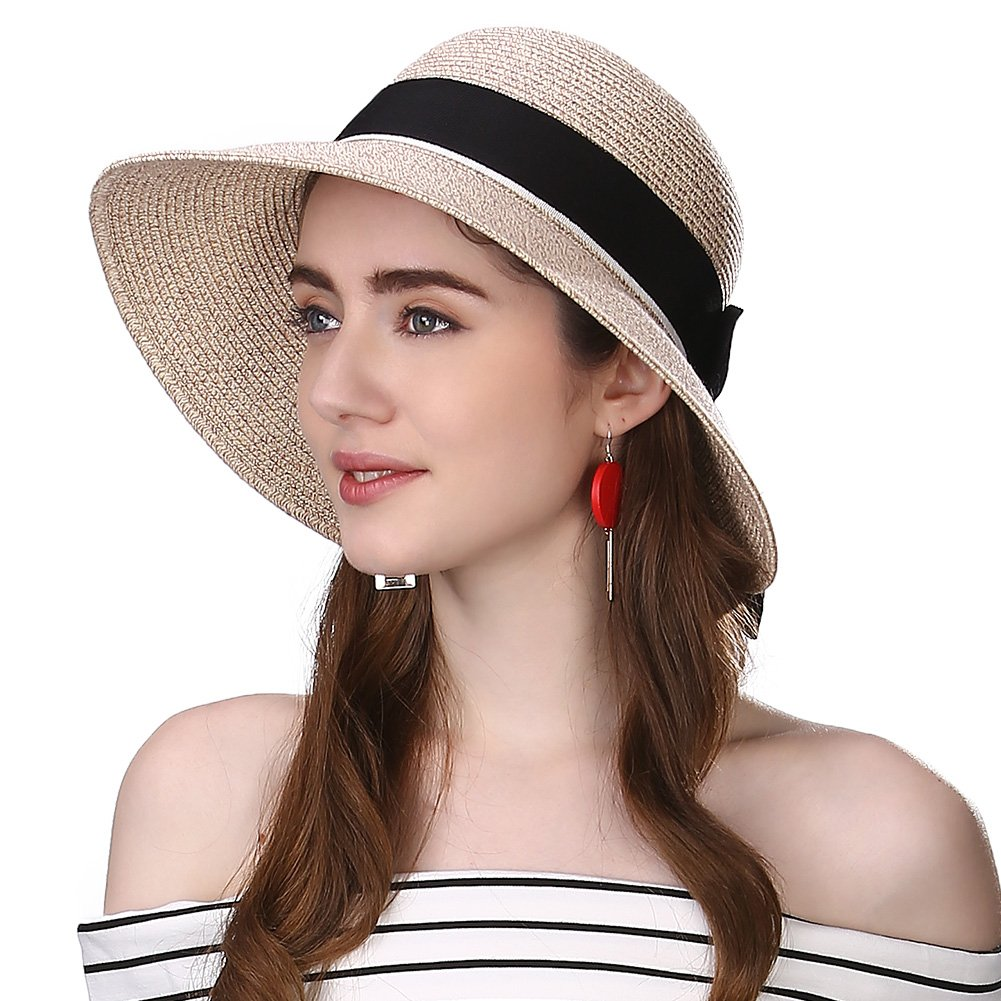 63383041749 Siggi Womens Floppy Summer Sun Beach Straw Hat UPF50 Foldable Wide Brim  55-60cm at Amazon Women s Clothing store