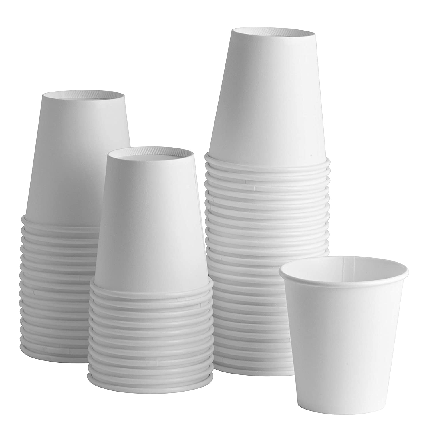[100 Pack] 8 oz. White Paper Hot Cups, Coffee Cups Rikkel Corp