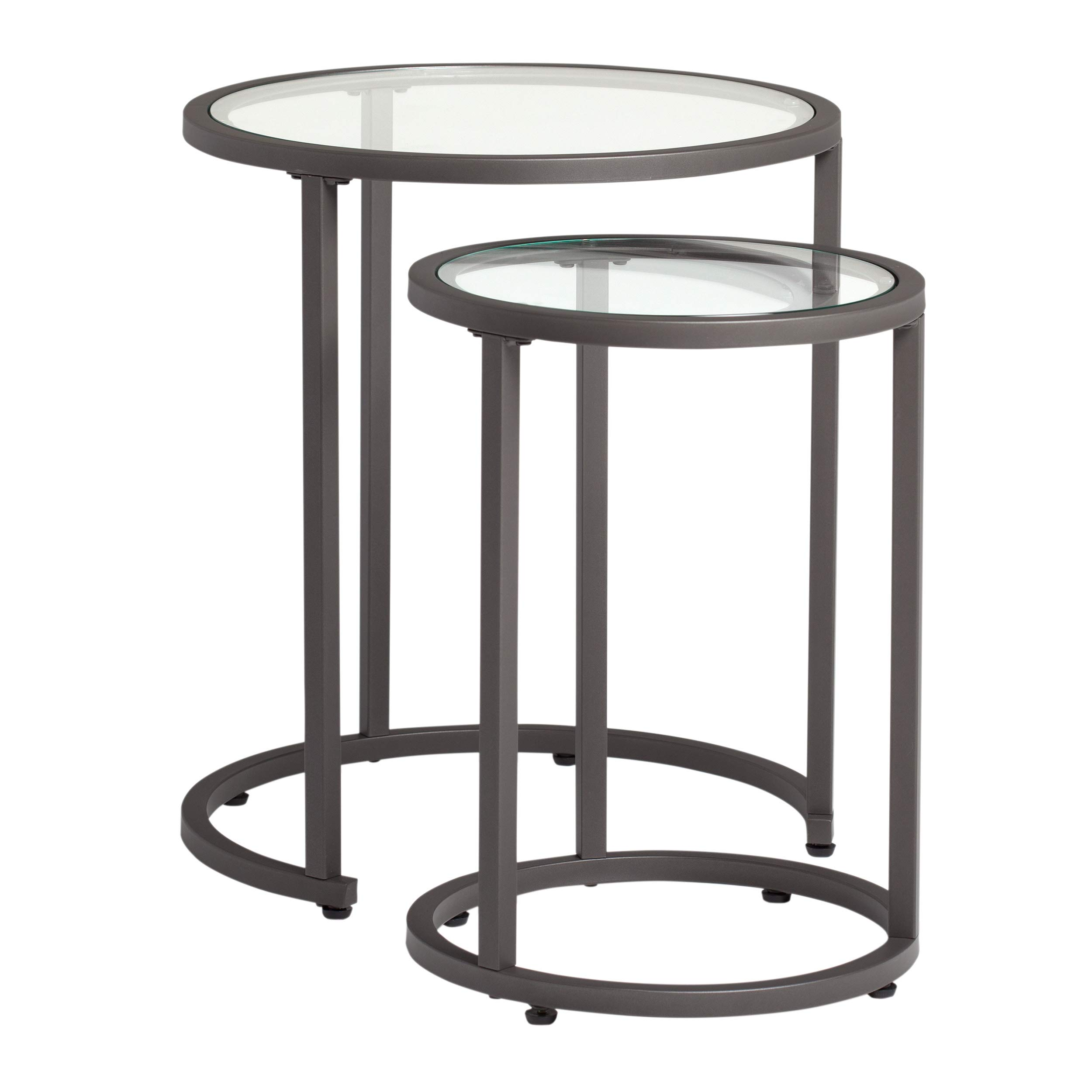 Studio Designs Home Camber Nesting Tables Metal and Glass Side Tables by Studio Designs Home