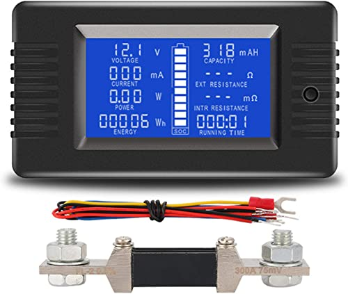 AUTENS DC Battery Monitor Meter with LCD Display,0-200V 0-300A Voltage Current Power Energy Impedance Resistance Capacity Multimeter Ammeter Voltmeter Digital Tester with 300A Shunt With 300A Shunt