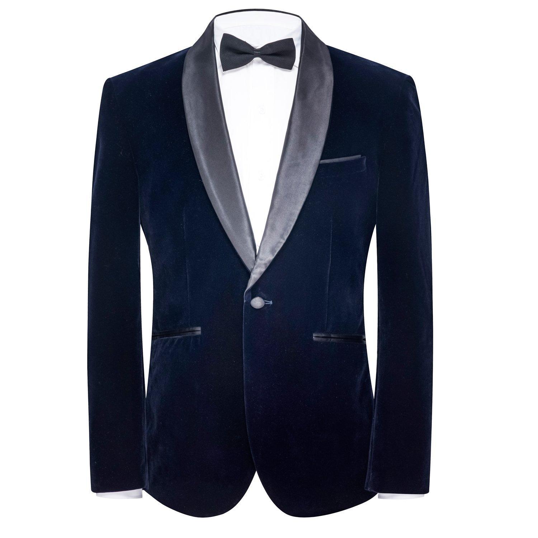 FOLOBE Mens Velvet Suit Jacket One-Button Business Blazer Coat 2018, Navy Blue
