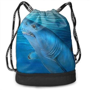 GHLHKFH Waterproof Mako Shark Drawstring Backpacks Clear Bags Functional  Unisex Beam Mouth Backpack 734f0a1bd