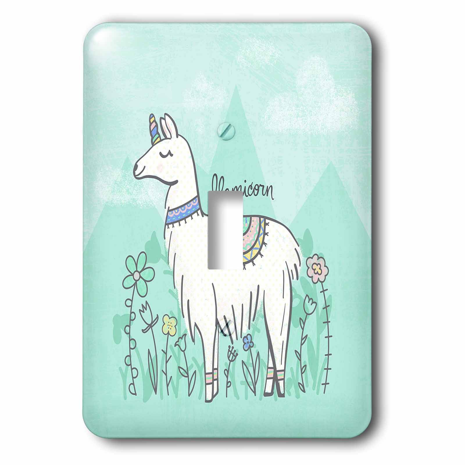 3dRose Noonday Design - Animals - Funny mythical llama crossed with a unicorn, a llamicorn - Light Switch Covers - single toggle switch (lsp_281733_1)