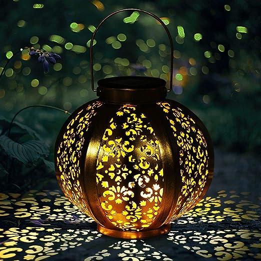 Lampara solar exterior jardin | Farolillos Solares Luces Led Luz Jardin Solares para Exteriores Decoracion Terraza Exterior Lampara Jardin -Impermeable IP44[clase de energía A +] Dorado: Amazon.es: Iluminación